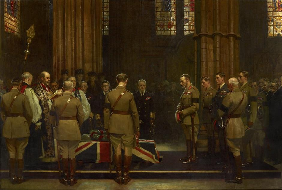 DG Military Art - Tomb of the Unknown Warrior - Burial of the Unknown Warrior by Frank O. Salisbury