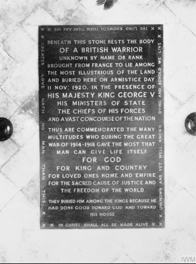 DG Military Art - Tomb of the Unknown Warrior - marble slab inscription
