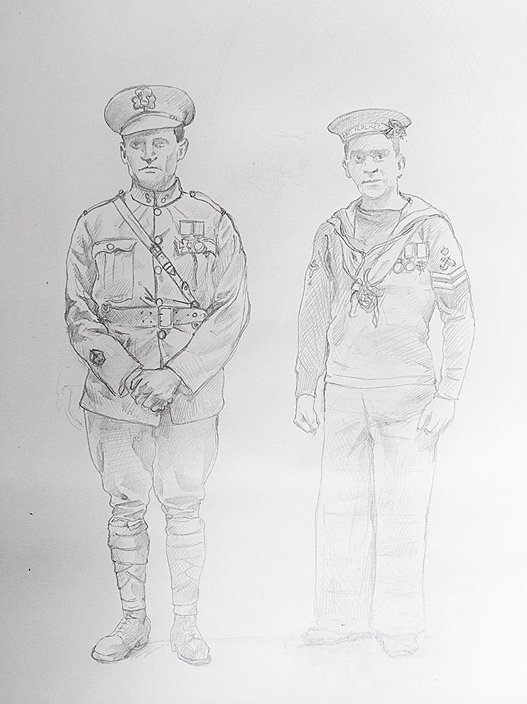 First pencil sketch of Doyle and Leach